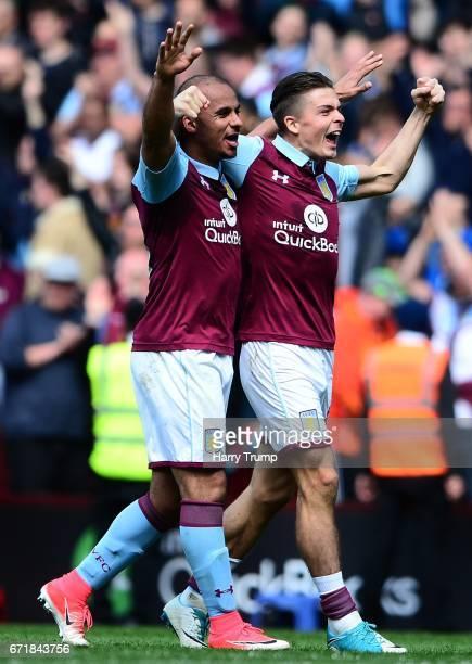 Gabriel Agbonlahor of Aston Villa and Jack Grealish of Aston Villa celebrate during the Sky Bet Championship match between Aston Villa and Birmingham...