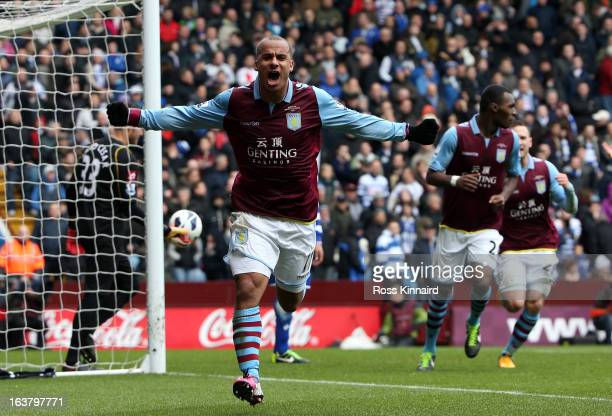 Gabriel Agbonlahor of Aston Villa celebrates after his scores during the Barclays Premier League match between Aston Villa and Quees Park Rangers at...
