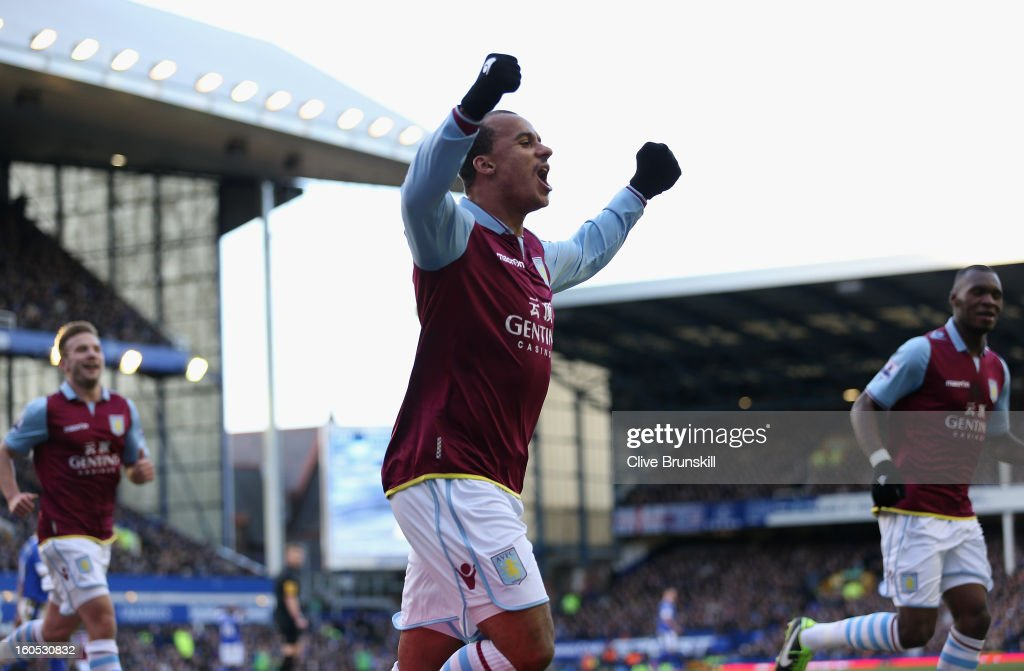 <a gi-track='captionPersonalityLinkClicked' href=/galleries/search?phrase=Gabriel+Agbonlahor&family=editorial&specificpeople=662025 ng-click='$event.stopPropagation()'>Gabriel Agbonlahor</a> of Aston Villa celebrates after scoring the second goal during the Barclays Premier League match between Everton and Aston Villa at Goodison Park on February 2, 2013 in Liverpool, England.