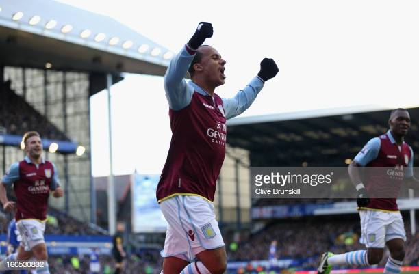 Gabriel Agbonlahor of Aston Villa celebrates after scoring the second goal during the Barclays Premier League match between Everton and Aston Villa...