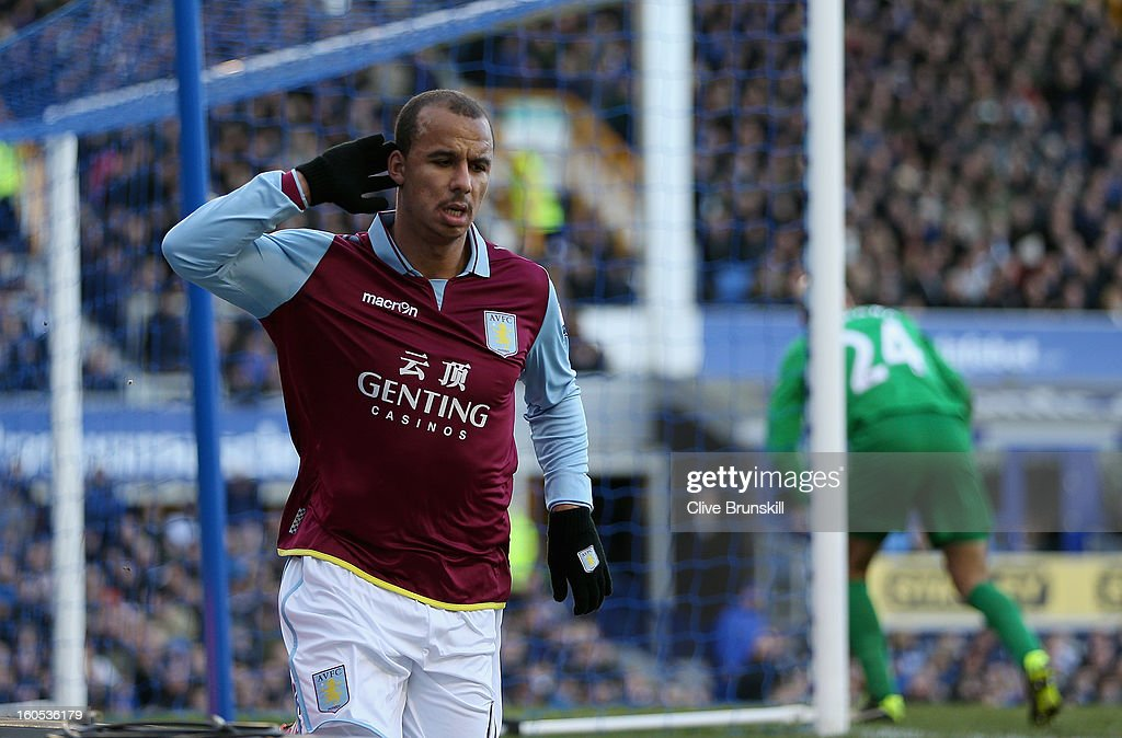 Gabriel Agbonlahor of Aston Villa celebrates after scoring the second goal during the Barclays Premier League match between Everton and Aston Villa at Goodison Park on February 2, 2013 in Liverpool, England.