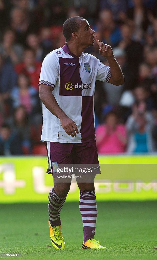 <a gi-track='captionPersonalityLinkClicked' href=/galleries/search?phrase=Gabriel+Agbonlahor&family=editorial&specificpeople=662025 ng-click='$event.stopPropagation()'>Gabriel Agbonlahor</a> of Aston Villa celebrates for Aston Villa during the Pre Season Friendly match between Walsall and Aston Villa at Banks' Stadium on July 31, 2013 in Walsall, England.