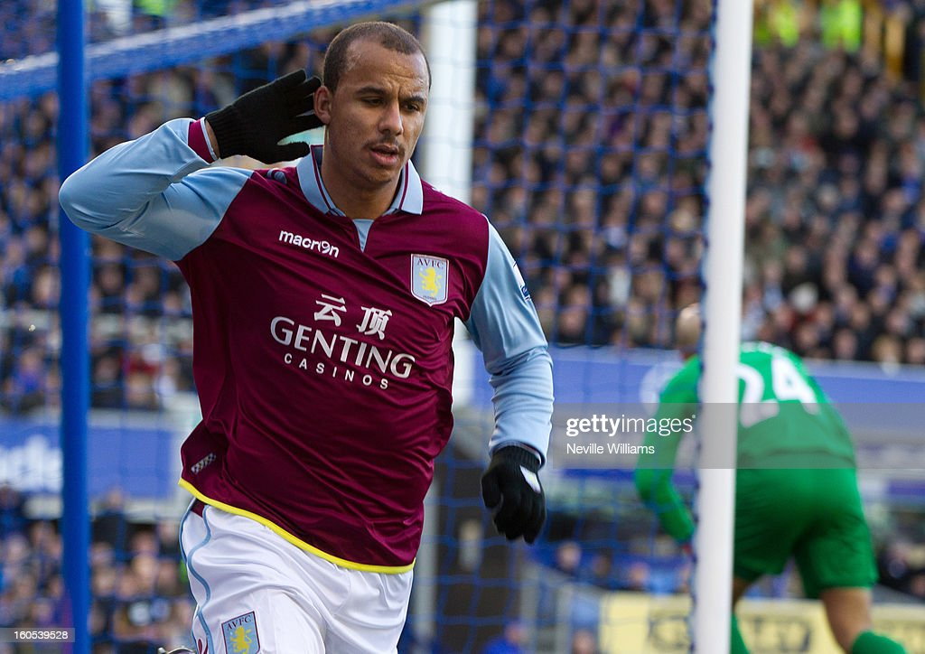 Gabriel Agbonlahor of Aston Villa celebrates his goal for Aston Villa during the Barclays Premier League match between Everton and Aston Villa at Goodison Park on February 02, 2013 in Liverpool, England.