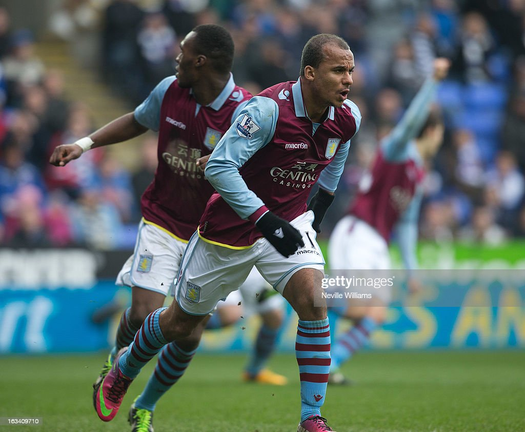 <a gi-track='captionPersonalityLinkClicked' href=/galleries/search?phrase=Gabriel+Agbonlahor&family=editorial&specificpeople=662025 ng-click='$event.stopPropagation()'>Gabriel Agbonlahor</a> of Aston Villa celebrates his goal for Aston Villa during the Barclays Premier League match between Reading and Aston Villa at Madejski Stadium on March 09, 2013 in Reading, England.
