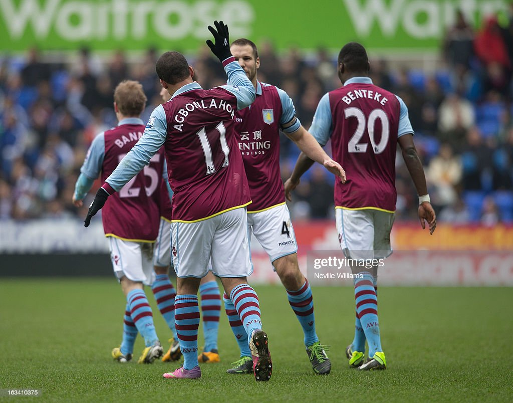 Gabriel Agbonlahor of Aston Villa celebrates his goal for Aston Villa during the Barclays Premier League match between Reading and Aston Villa at Madejski Stadium on March 09, 2013 in Reading, England.