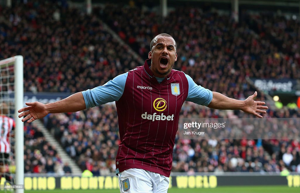 Gabriel Agbonlahor of Aston Villa celebrates scoring their second goal during the Barclays Premier League match between Sunderland and Aston Villa at Stadium of Light on March 14, 2015 in Sunderland, England.
