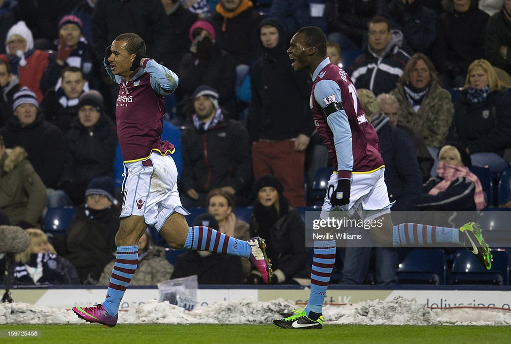 <a gi-track='captionPersonalityLinkClicked' href=/galleries/search?phrase=Gabriel+Agbonlahor&family=editorial&specificpeople=662025 ng-click='$event.stopPropagation()'>Gabriel Agbonlahor</a> (L) of Aston Villa celebrates with team-mate Christain Benteke (R) after scoring their second goal for Aston Villa during the Barclays Premier League match between West Bromwich Albion and Aston Villa at The Hawthorns on January 19, 2013 in West Bromwich England.