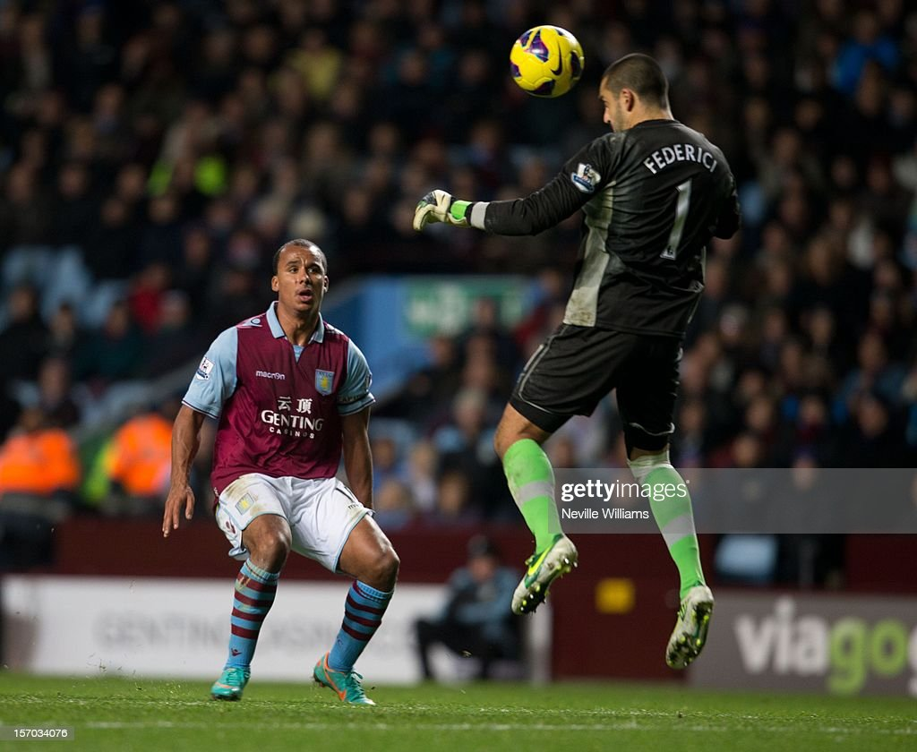Gabriel Agbonlahor of Aston Villa challenged by Adam Federici of Reading during the Barclays Premier League match between Aston Villa and Reading at Villa Park on November 27, 2012 in Birmingham, England.