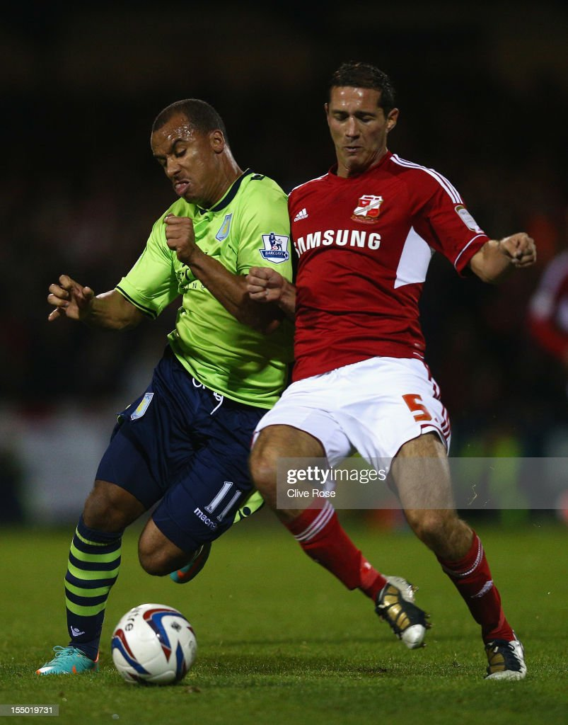 <a gi-track='captionPersonalityLinkClicked' href=/galleries/search?phrase=Gabriel+Agbonlahor&family=editorial&specificpeople=662025 ng-click='$event.stopPropagation()'>Gabriel Agbonlahor</a> of Aston Villa challenges Joe Devera of Swindon Town during the Capital One Cup Fourth Round match between Swindon Town and Aston Villa at the County Ground on October 30, 2012 in Swindon, England.