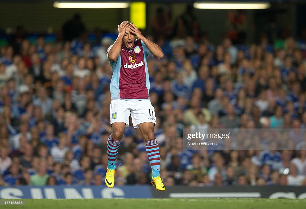 Gabriel Agbonlahor of Aston Villa during the Barclays Premier League match between Chelsea and Aston Villa at Stamford Bridge on August 21, 2013 in London, England.