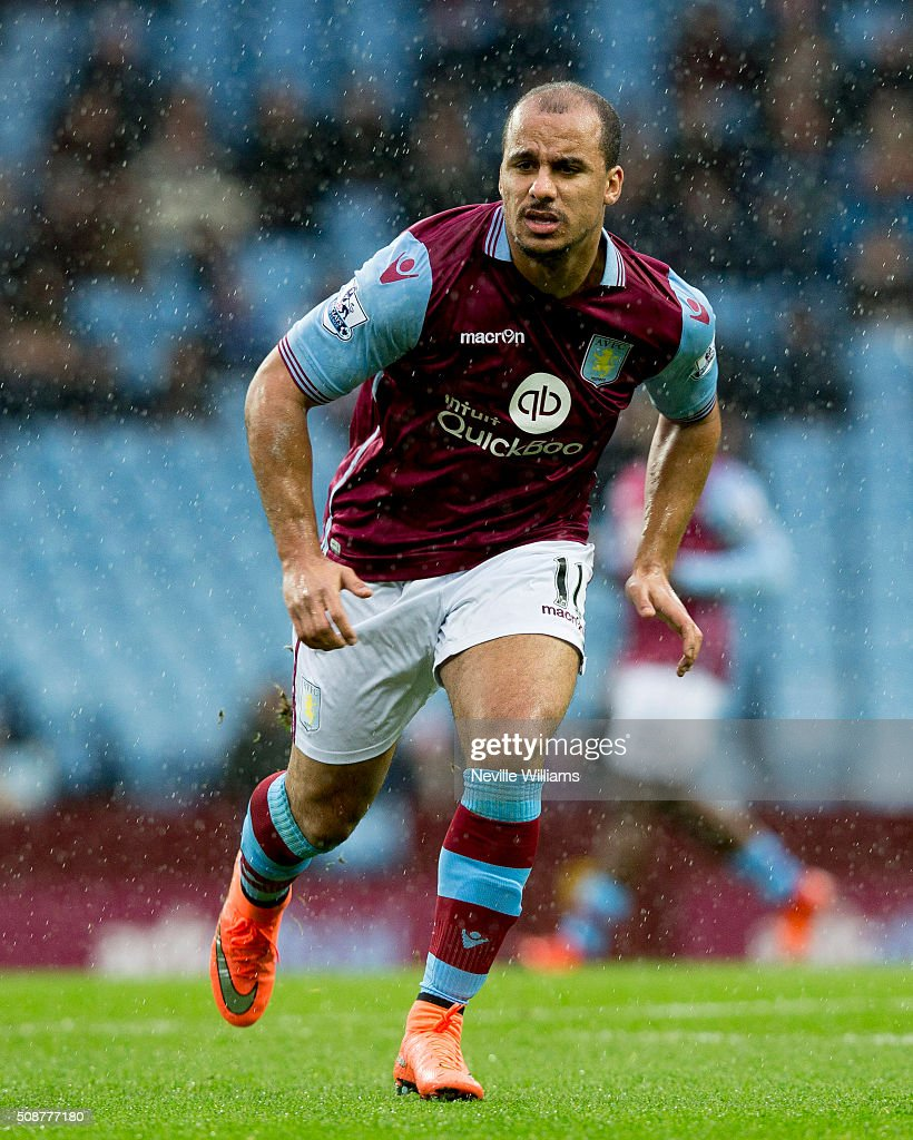 Gabriel Agbonlahor of Aston Villa during the Barclays Premier League match between Aston Villa and Norwich City at Villa Park on February 06, 2016 in Birmingham, England.