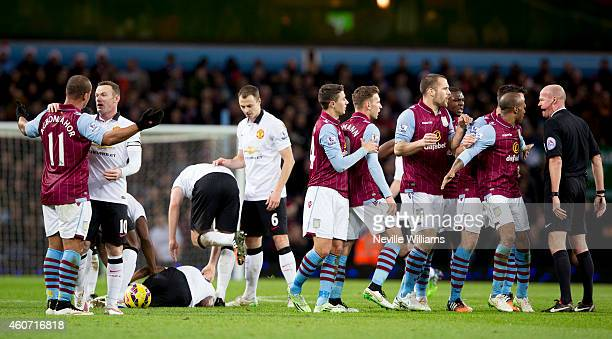 Gabriel Agbonlahor of Aston Villa gets sent off during the Barclays Premier League match between Aston Villa and Manchester United at Villa Park on...