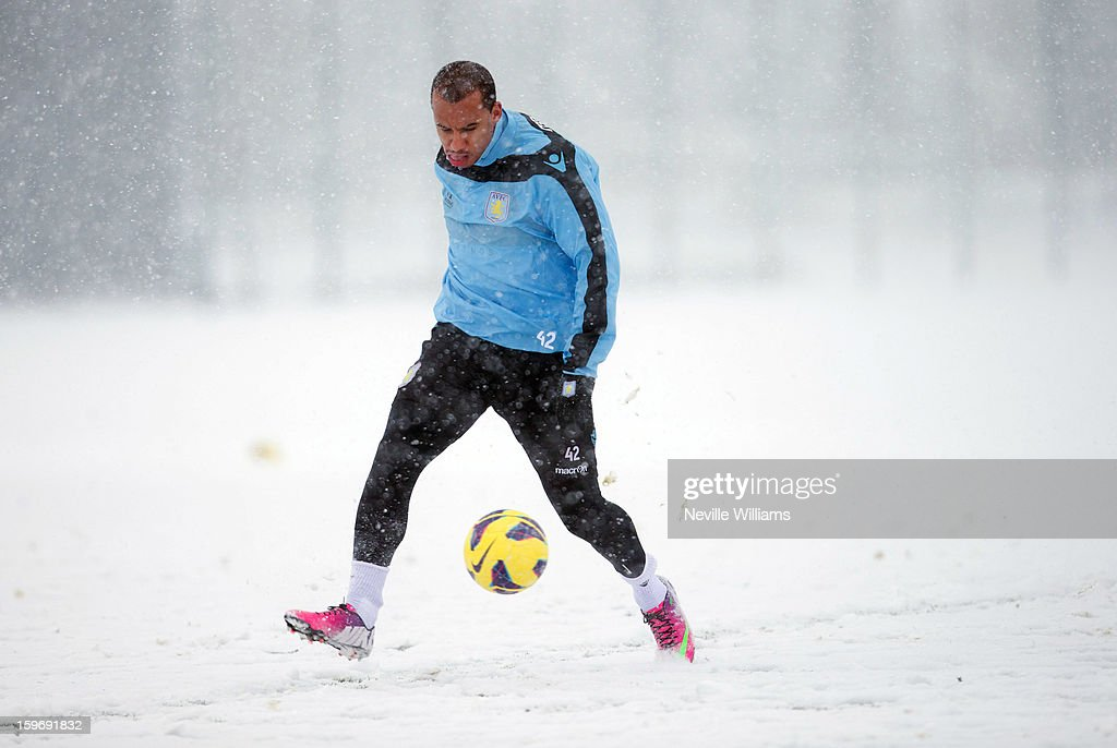 Gabriel Agbonlahor of Aston Villa in action during a Aston Villa training session at the club's training ground at Bodymoor Heath on January 18, 2013 in Birmingham, England.