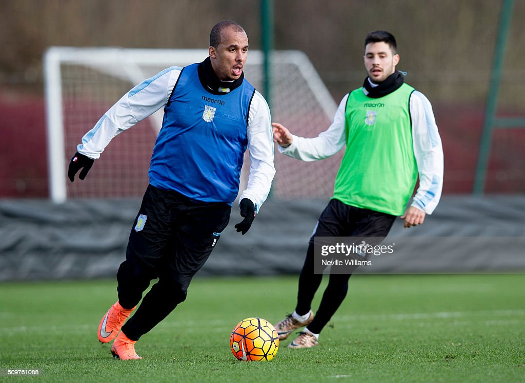<a gi-track='captionPersonalityLinkClicked' href=/galleries/search?phrase=Gabriel+Agbonlahor&family=editorial&specificpeople=662025 ng-click='$event.stopPropagation()'>Gabriel Agbonlahor</a> of Aston Villa in action during a Aston Villa training session at the club's training ground at Bodymoor Heath on February 12, 2016 in Birmingham, England.