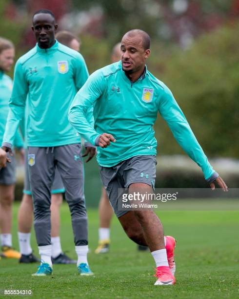 Gabriel Agbonlahor of Aston Villa in action during a Aston Villa training session at the club's training ground at Bodymoor Heath on September 29...