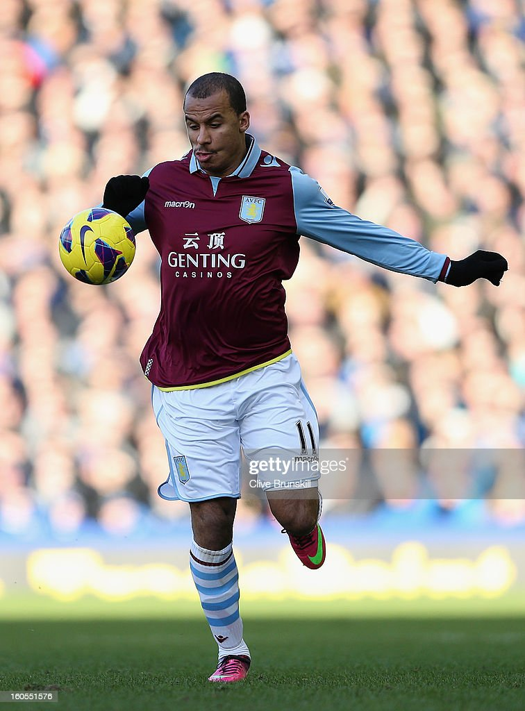 Gabriel Agbonlahor of Aston Villa in action during the Barclays Premier League match between Everton and Aston Villa at Goodison Park on February 2, 2013 in Liverpool, England.