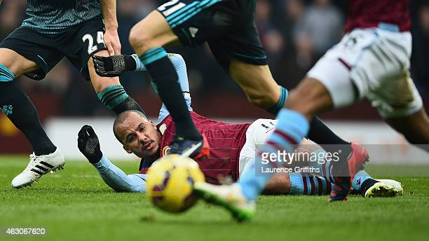 Gabriel Agbonlahor of Aston Villa in action during the Barclays Premier League match between Aston Villa and Chelsea at Villa Park on February 7 2015...