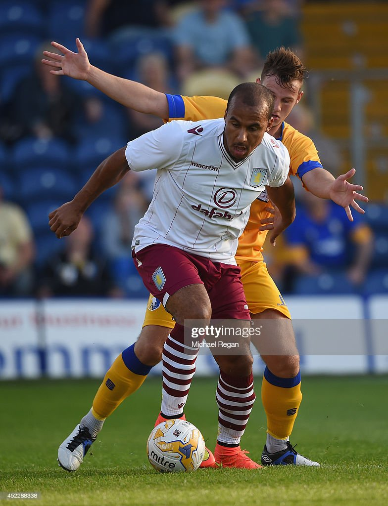 Gabriel Agbonlahor of Aston Villa in action during the pre-season friendly match between Mansfield and Aston Villa at the One Call Stadium on July 17, 2014 in Mansfield, England.