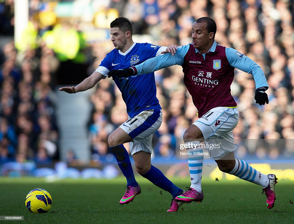 Gabriel Agbonlahor of Aston Villa is challenged by Kevin Mirallas of Everton during the Barclays Premier League match between Everton and Aston Villa at Goodison Park on February 02, 2013 in Liverpool, England.