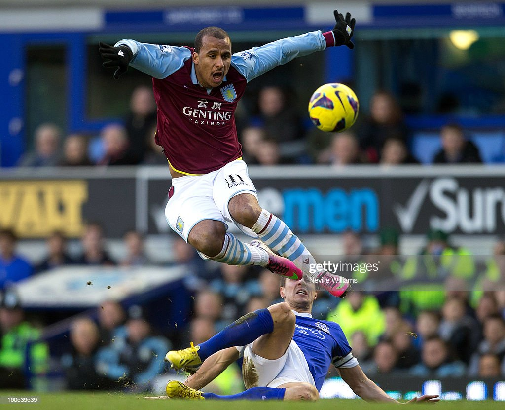 Gabriel Agbonlahor of Aston Villa is challenged by Phil Jagielka of Everton during the Barclays Premier League match between Everton and Aston Villa at Goodison Park on February 02, 2013 in Liverpool, England.