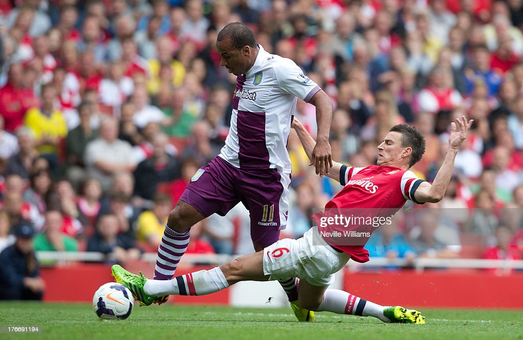 <a gi-track='captionPersonalityLinkClicked' href=/galleries/search?phrase=Gabriel+Agbonlahor&family=editorial&specificpeople=662025 ng-click='$event.stopPropagation()'>Gabriel Agbonlahor</a> of Aston Villa is fouled by <a gi-track='captionPersonalityLinkClicked' href=/galleries/search?phrase=Laurent+Koscielny&family=editorial&specificpeople=2637418 ng-click='$event.stopPropagation()'>Laurent Koscielny</a> of Arsenal for the second penalty of the match during the Barclays Premier League match between Arsenal and Aston Villa at Emirates Stadium on August 17, 2013 in London, England.
