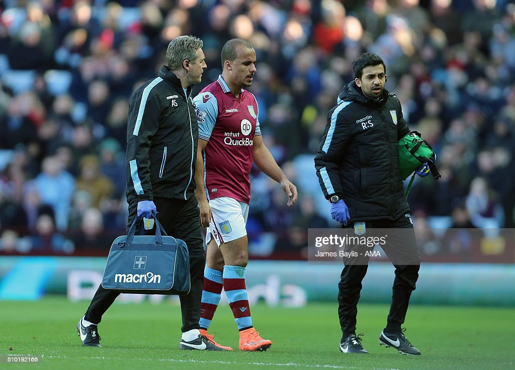 Gabriel Agbonlahor of Aston Villa leaves the pitch injured during the Barclays Premier League match between Aston Villa and Liverpool at Villa Park on February 14, 2016 in Birmingham, England.