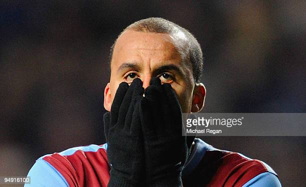 Gabriel Agbonlahor of Aston Villa looks dejected after a missed chance during the Barclays Premier League match between Aston Villa and Stoke City at...