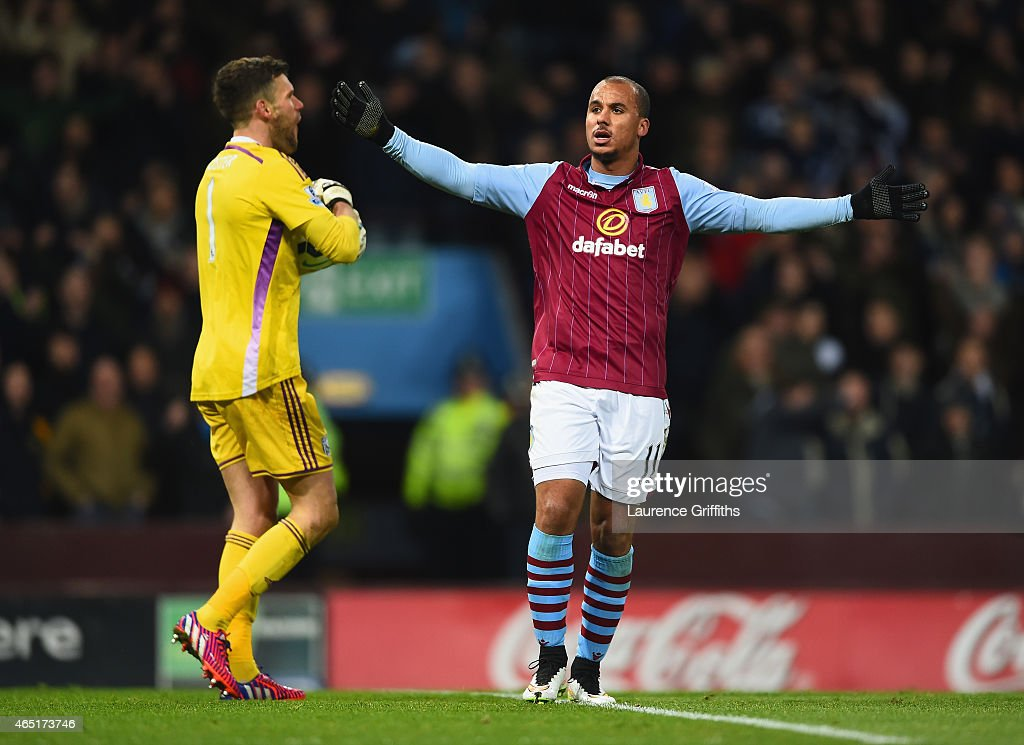 <a gi-track='captionPersonalityLinkClicked' href=/galleries/search?phrase=Gabriel+Agbonlahor&family=editorial&specificpeople=662025 ng-click='$event.stopPropagation()'>Gabriel Agbonlahor</a> of Aston Villa reacts after goal line technology ruled his effort on goal to not cross the line during the Barclays Premier League match between Aston Villa and West Bromwich Albion at Villa Park on March 3, 2015 in Birmingham, England.