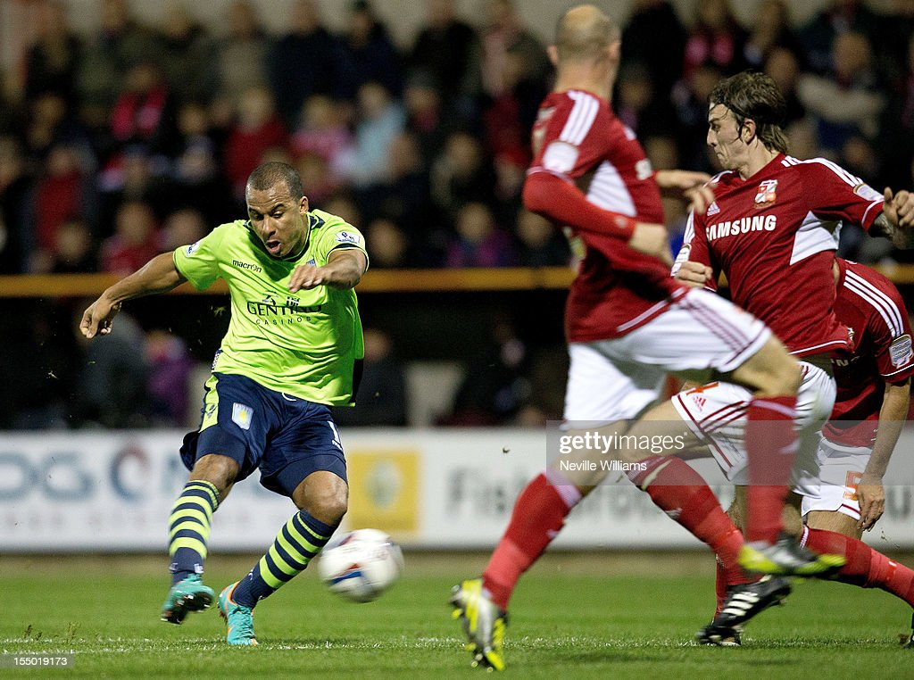 <a gi-track='captionPersonalityLinkClicked' href=/galleries/search?phrase=Gabriel+Agbonlahor&family=editorial&specificpeople=662025 ng-click='$event.stopPropagation()'>Gabriel Agbonlahor</a> of Aston Villa scores for Aston Villa during the Capital One Cup Fourth Round match between Swindon Town and Aston Villa at the County Ground on October 30, 2012 in Swindon, England.