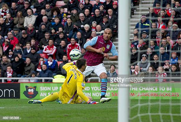 Gabriel Agbonlahor of Aston Villa scores his goal for Aston Villa during the Barclays Premier League match between Sunderland and Aston Villa at the...