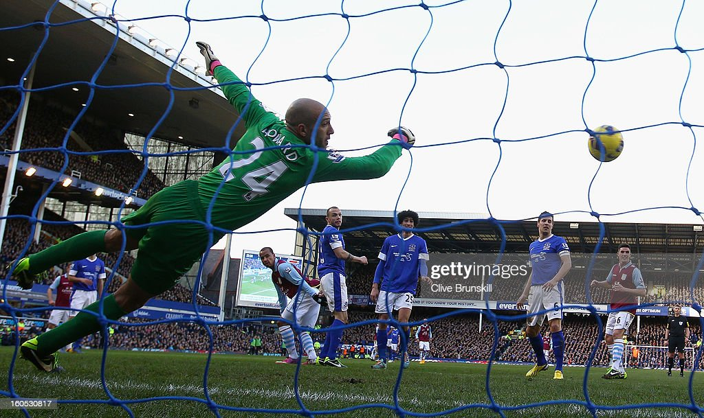 Gabriel Agbonlahor of Aston Villa scores the second goal past Everton keeper Tim Howard during the Barclays Premier League match between Everton and Aston Villa at Goodison Park on February 2, 2013 in Liverpool, England.