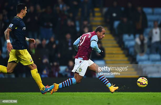 Gabriel Agbonlahor of Aston Villa scores their first goal during the Barclays Premier League match between Aston Villa and Southampton at Villa Park...