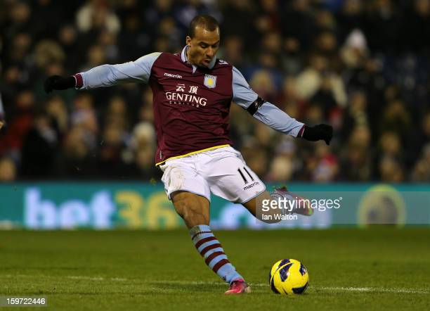 Gabriel Agbonlahor of Aston Villa scores their second goal during the Barclays Premier League match between West Bromwich Albion and Aston Villa at...