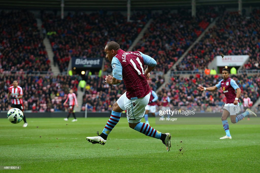 Gabriel Agbonlahor of Aston Villa scores their second goal during the Barclays Premier League match between Sunderland and Aston Villa at Stadium of Light on March 14, 2015 in Sunderland, England.