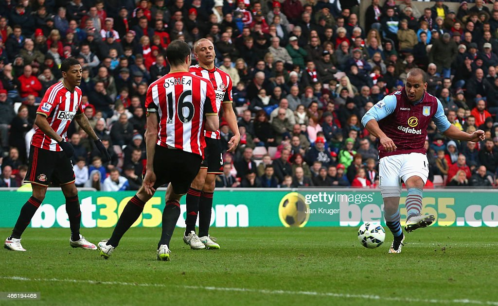 Gabriel Agbonlahor of Aston Villa scores their third goal during the Barclays Premier League match between Sunderland and Aston Villa at Stadium of Light on March 14, 2015 in Sunderland, England.