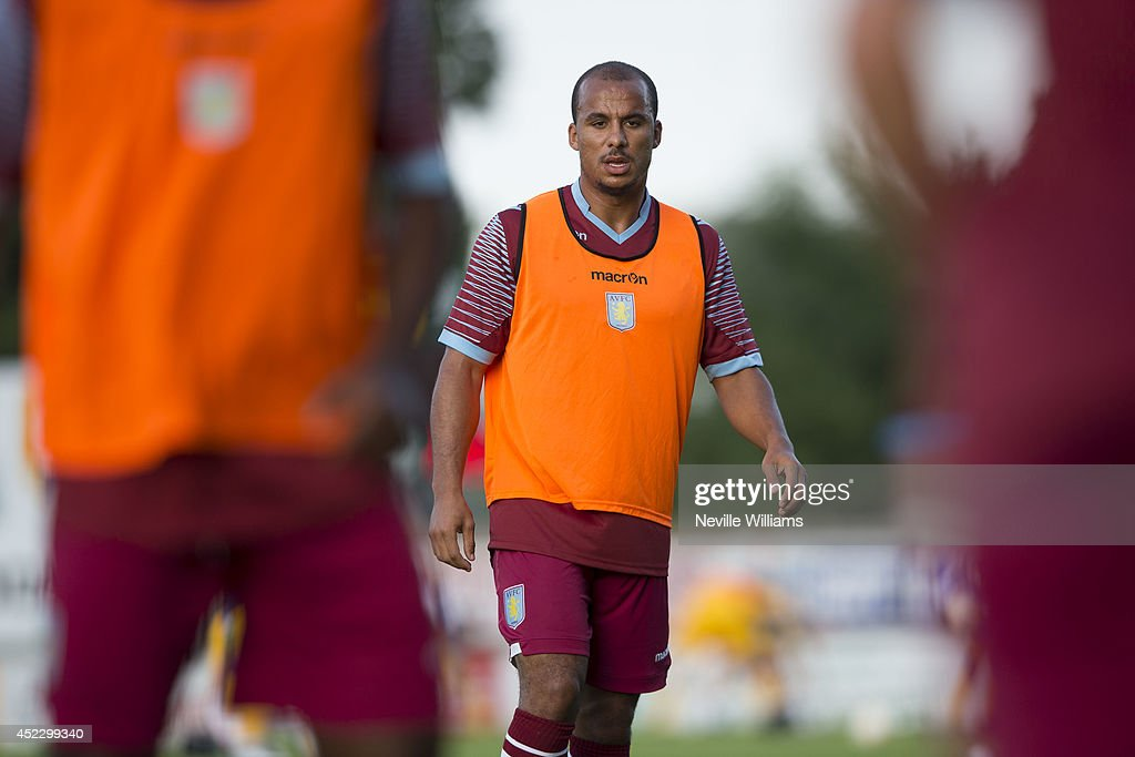 Gabriel Agbonlahor of Aston Villa warms up before the pre season friendly match between Mansfield Town and Aston Villa at the One Call Stadium on July 17, 2014 in Mansfield, England.