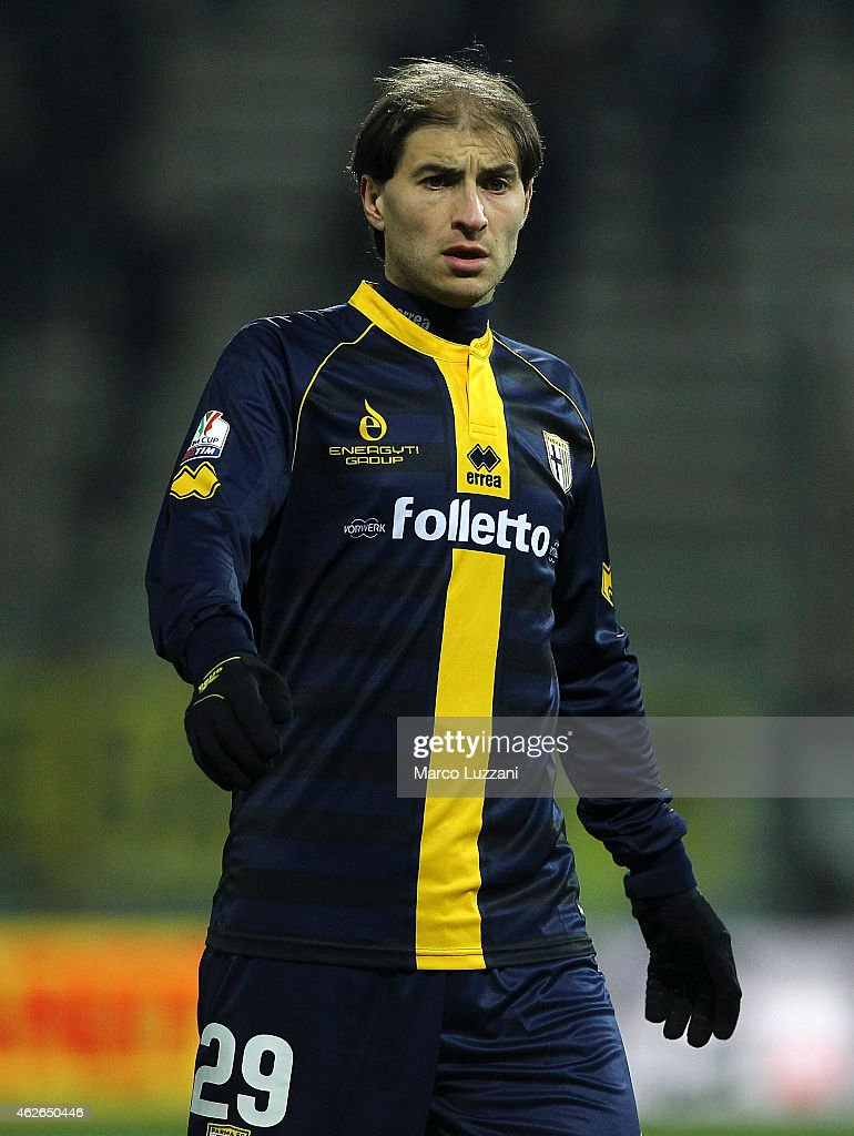Gabriel Alejandro Paletta of Parma FC looks on during the TIM Cup match between Parma FC and Juventus FC at Stadio Ennio Tardini on January 28, 2015 in Parma, Italy.