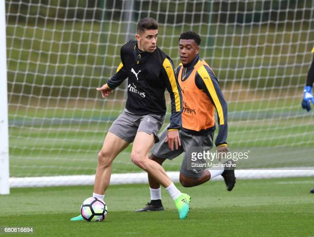 Gabriel and Alex Iwobi of Arsenal during a training session at London Colney on May 9 2017 in St Albans England
