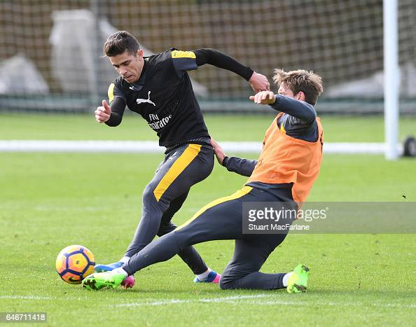 Gabriel and Nacoh Monreal of Arsenal during a training session at London Colney on March 1 2017 in St Albans England