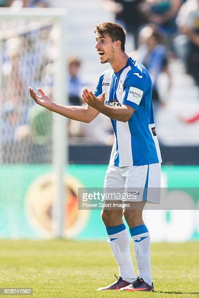 Gabriel Appelt Pires of Deportivo Leganes reacts during their La Liga match between Deportivo Leganes and Sevilla FC at the Butarque Municipal...