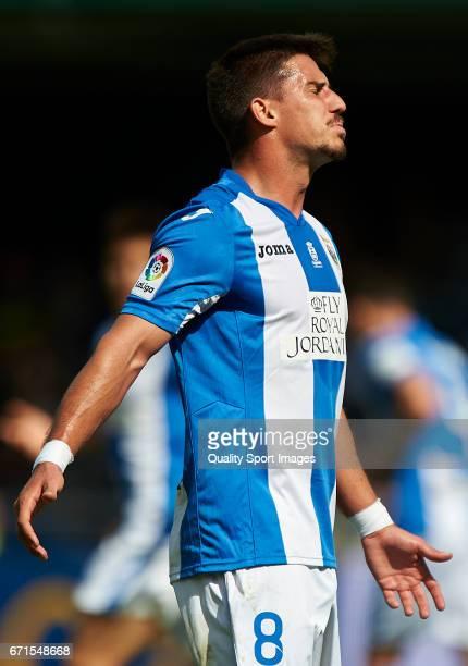 Gabriel Appelt Pires of Leganes reacts during the La Liga match between Villarreal CF and CD Leganes at Estadio de la Ceramica on April 22 2017 in...
