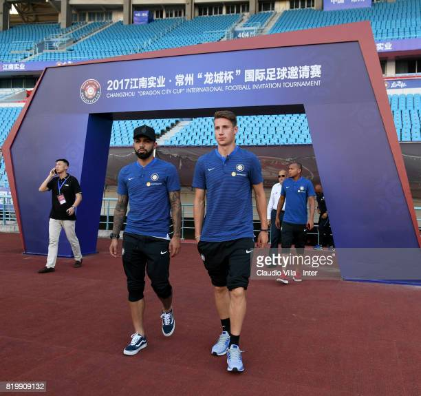 Gabriel Barbosa Almeida and Andrea Pinamonti of FC Internazionale look on before the press conference on July 20 2017 in Changzhou China