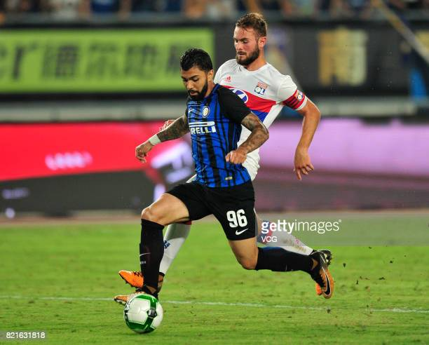 Gabriel Barbosa Almeida of FC Internazionale and Lucas Tousart of Lyon compete for the ball during the 2017 International Champions Cup match between...