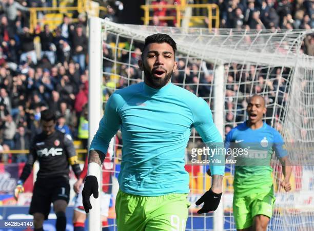 Gabriel Barbosa Almeida of FC Internazionale celebrates after scoring the opening goal during the Serie A match between Bologna FC and FC...
