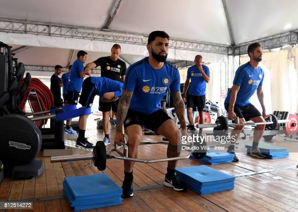 Gabriel Barbosa Almeida of FC Internazionale in action during a FC Internazionale training session on July 11 2017 in Reischach near Bruneck Italy