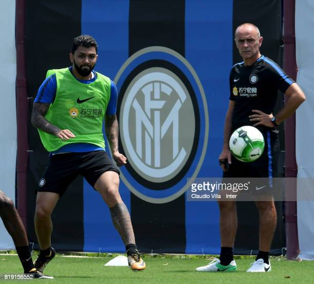 Gabriel Barbosa Almeida of FC Internazionale in action during a FC Interazionale training session at Suning training center on July 20 2017 in...
