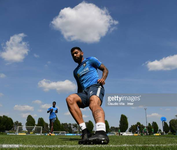 Gabriel Barbosa Almeida of FC Internazionale in action during FC Internazionale training session at Suning Training Center at Appiano Gentile on May...