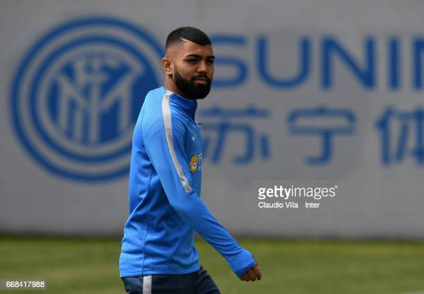 Gabriel Barbosa Almeida of FC Internazionale looks on during FC Internazionale training session at Suning Training Center at Appiano Gentile on April...