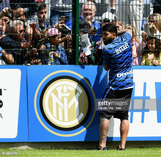 Gabriel Barbosa Almeida of FC Internazionale signs autographs for fans after a training session on July 15 2017 in Reischach near Bruneck Italy