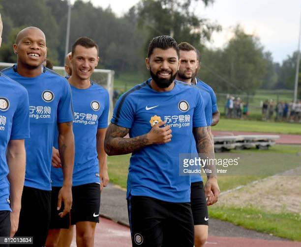 Gabriel Barbosa Almeida of FC Internazionale smiles during a FC Internazionale training session on July 10 2017 in Reischach near Bruneck Italy